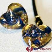 Cuore Gemma Gialla e Blu - Parure in vetro di Murano fatta a mano