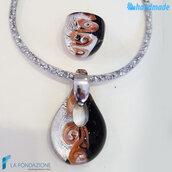 Parure Vortice con anello e pendente in vetro di Murano fatta a mano