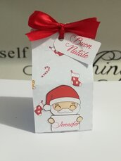 Scatola scatolina segnaposto natale nastro babbo natale pinguino renna albero pupazzo di neve folletto