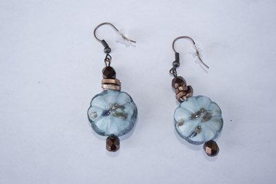 Orecchini blu turchese e bronzo