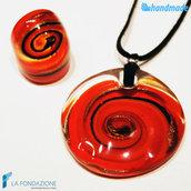 Parure Vertigo Rossa con anello e pendente in vetro di Murano