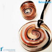 Parure Vertigo Caramello con anello e pendente in vetro di Murano
