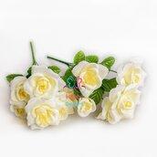 M* Ramo Bouquet UNICO di 6 fiori ROSA artificiali in colore AVORIO fai da te, decorazioni, bomboniere, matrimonio, compleanno, comunione., ecc