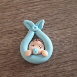 Magnete o ciondolo in fimo neonato nascita