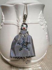 Collana dolls di ceramica e seta, collana lunga, collana bambolina con viso ceramica dipinta