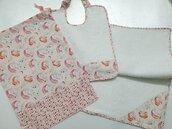 Set asilo 3 pezzi personalizzabile con nome, sacca, bavaglino con elastico e asciugamano, unicorni