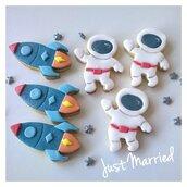 Biscotti decorati compleanno a tema spaziale, missile astronauta