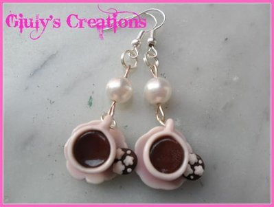 Tazzine di caffe' rosa con perle