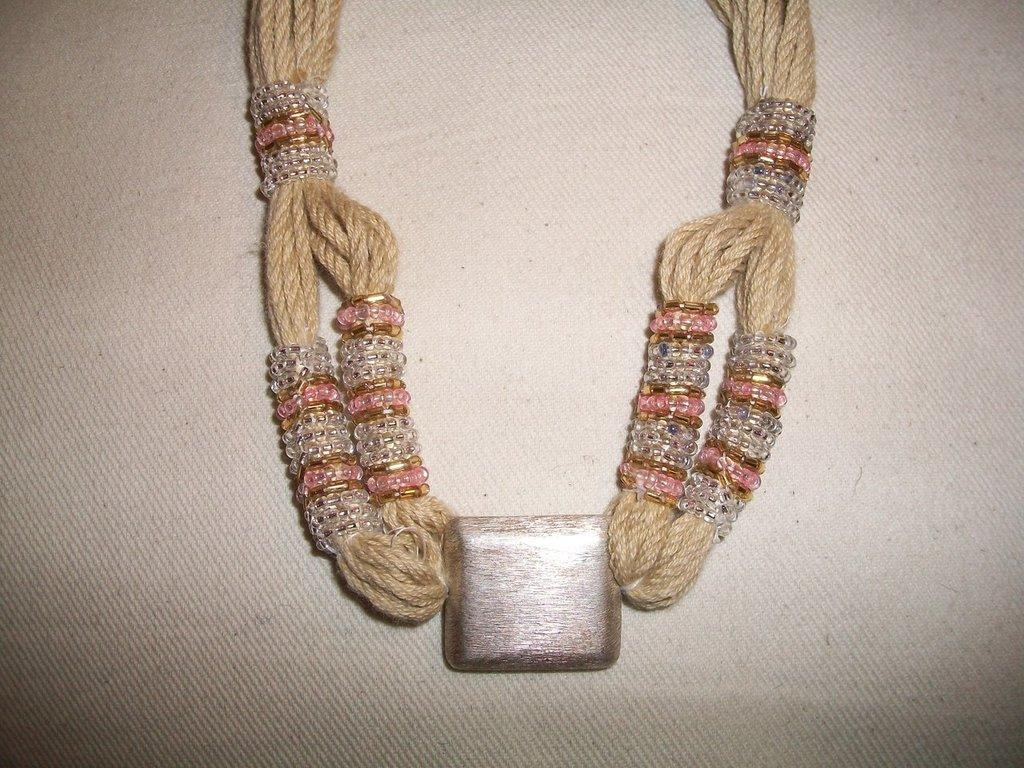 collana cotone beige/rosa