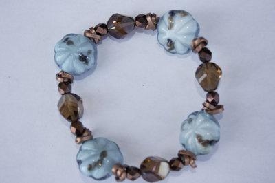 Braccialetto blu turchese e bronzo