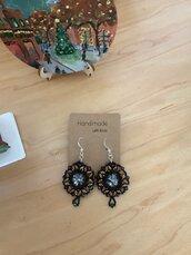 Orecchini cerchio Swarovski ed argento 925 - Modello Nadia - nero e bronzo