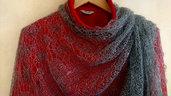 sciarpa, sciarpa di lana grigio scuro, mantellina, lana di capra, sciarpa ricama, scialle, scialle caldo, scialle di lana, handmade