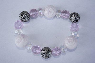 Braccialetto perle vetro toni rosa