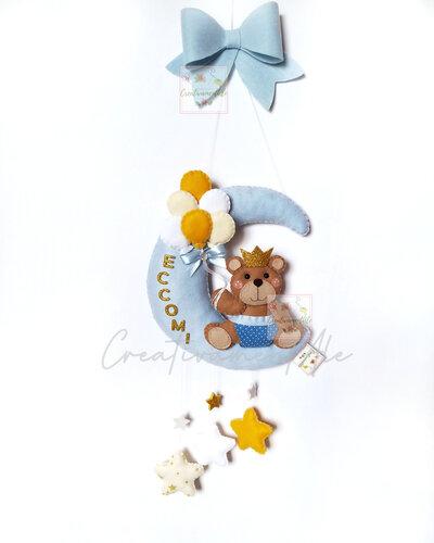 Fiocco nascita - Luna con orsetto e stelline