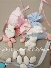 12 sacchettini porta confetti con calamita a forma di orsetto in polvere di gesso