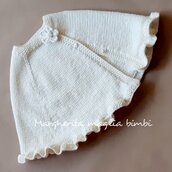 Mantella/coprispalle/mantellina bambina - lana merino panna - Battesimo - cerimonia
