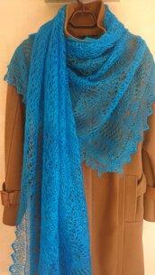 velo di lana, scialle sottile, scialle, scielle di lana, scialle caldo, aggiornato, mantellina, lana di capra, colore turchese, sciarpa, un regalo per lei