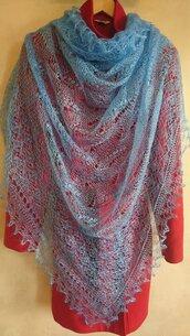 sciarpa ricamato, sciarpa di lana, mantellina, lana di capra, colore blu, scialle, scialle caldo, scialle di lana