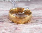 Collana Unico anello dorato Lord of the rings Hobbit Signore degli Anelli