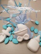 12 sacchettini porta confetti per nascita o battesimo con calamita