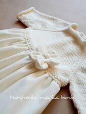 Abito Battesimo bambina in lana merino e velluto bianco panna - fiore velluto