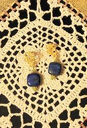 Orecchini pendenti con piastra in lapislazzulo afgano, pezzo unico