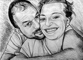Ritratto disegno da foto su commissione a matita idea regalo san Valentino