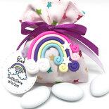 Bomboniera completa battesimo nascita arcobaleno-unicorno