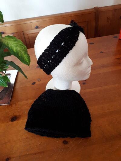 Cappello e fascia uncinetto donna