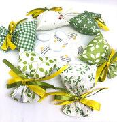 Sacchetto bomboniera Battesimo verde e giallo, porta confetti Comunione, biglietto confetti.