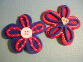 mollette fiore rosse e blu
