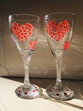 Coppia di calici decorati per San Valentino