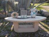 Tavolo in legno, coffee table, tavolo in legno d'abete con inserto in ferro, tavolo basso