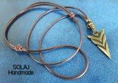 Collana da Uomo con pendente a Punta di freccia in bronzo - MKN01