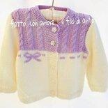 Maglietta / cardigan / coprispalle bimba in pura lana merinos 100%