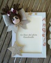 Cornice portafoto personalizzata con nome e bambolina.