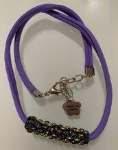Collana fettuccia e twin beads viola