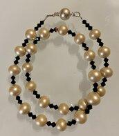 Collana perle e swarovsky