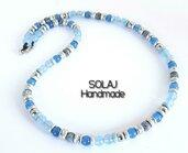 Collana unisex in Giada azzurra, Agata blu, Ematite, Agata fuoco e acciaio - UGN01
