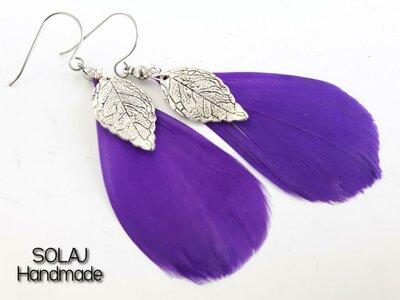 Orecchini in Piume viola con ciondoli a foglie argento - WFE01