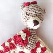 Biancarosa Doudou orsetto per neonata in cotone