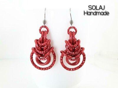 Orecchini Rosso in Alluminio diamantata e ammaccato chainmaille - WAE01