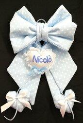 Fiocco nascita personalizzato fatto a mano con ricamo personalizzato bambino