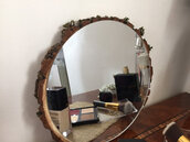 Wall Mirror,mirror on round wooden slice,mirror for your rustic home,mirror on round wooden slice,