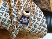 Coperta lettino carrozzina Jersey di cotone e pile con ricamo tecnica applique
