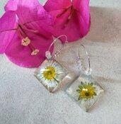 Orecchini cerchio donna orecchini fiori margherite orecchini fatti a mano con fiori veri fiori secchi