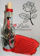 Idea regalo San Valentino ragazza Messaggio cuore bottiglia personalizzata donna rosa fiore lei