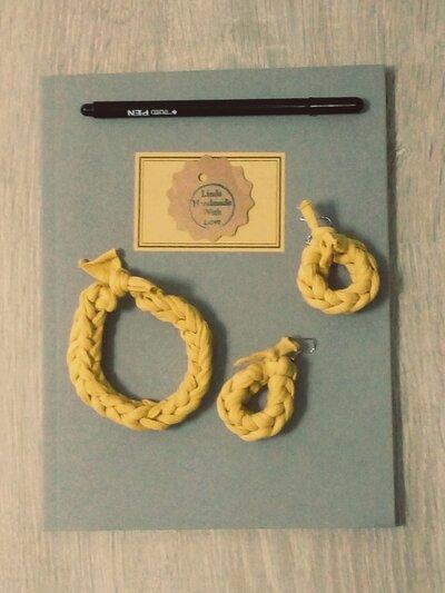 Set orecchini e bracciale in fettuccia color senape