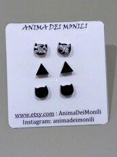 Orecchini lobo donna orecchini mini tris orecchini orecchini gatto nero triangolo orecchini foglia argento