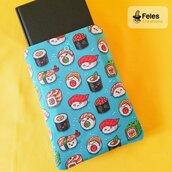 """Booksleeve per proteggere libri, agende e tablet a tema """"Sushi kawaii"""""""